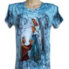 Imagem de Camiseta Feminina Baby Look Nossa Senhora de Fátima com Strass Tamanho M