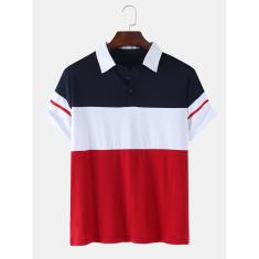 Imagem de Camisa de golfe casual masculina colorida patchwork patchwork manga curta