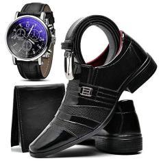 Imagem de Kit Sapato Social Com Relógio Cinto Carteira Verniz Masculino Top Flex R813DB Tamanho:37;cor:;gênero:Masculino