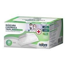 Imagem de Máscara Cirúrgica Descartável Tripla Caixa 50 Un. Fab. Nacional Nobre Clipe Nasal Reg. Anvisa