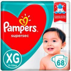 Fralda Pampers Supersec Tamanho XG 68 Unidades Peso Indicado 11 - 15kg