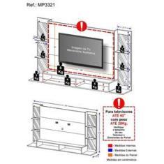"""Imagem de Painel TV 60"""" c/ suporte, espelho e prateleiras vidro Nairóbi Multimóveis Grafite"""
