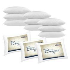 Imagem de Kit Travesseiros 12 Peças Bonjour Fibra Siliconizada em Microfibra 70cm x 50cm - Ortobom
