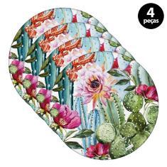 Imagem de Sousplat Mdecore Floral 32x32cm Rosa 4pçs
