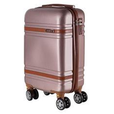 Imagem de Mala de Bordo para Viagem em ABS Yins 21068 Rodas Duplas Cadeado Integrado Tam PP - Rosê