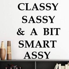 Imagem de DIYthinker Adesivo de vinil para decoração de parede com design clássico Sassy Bit Smart Assy Bit autoadesivo