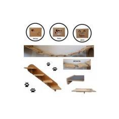 Kit 7 Pçs = 3 Nichos + Comedouro + Prateleira + Escada + Ponte Para Gato - Pet Em Mdf 15mm