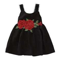 Imagem de Jshuang Vestido infantil de tule floral sem mangas 12M-4T