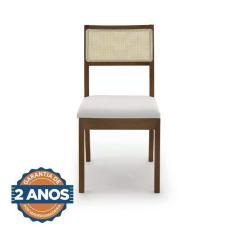 Imagem de Conjunto De 2 Cadeiras Madeira Maciça Tiê Cabecasa Madeiramadeira Amendoa/Bege Claro