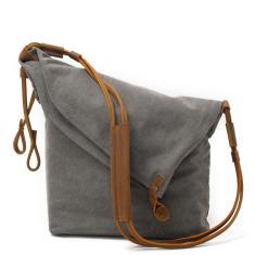 Imagem de Mulheres Messenger Bags Feminino Canvas Shoulder Vintage Leather Bag Ladies Bandoleira Sacos para designer bolsas pequeno balde