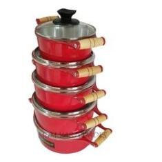 Imagem de Jogo de panela aluminio Batido Fundido 05 peças  Tampa de Vidro