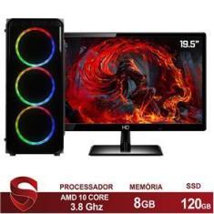"Imagem de PC Gamer Completo AMD 10-Core CPU 3.8Ghz 8GB (Placa de vídeo Radeon R5 2GB) SSD 120GB Skill Monitor HDMI LED 19.5"""