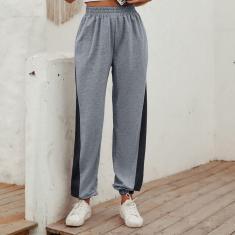 Imagem de Calça de moletom com elástico ativo feminino de cintura larga e calça esportiva para jogging cool