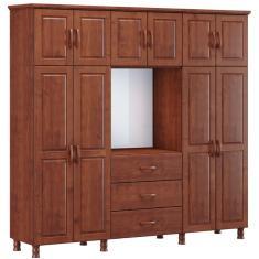 Guarda-Roupa Casal 10 Portas 3 Gavetas com Espelho Capelão Bipartido Finestra Móveis