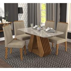 Imagem de Conjunto De Mesa Cimol Agata 1,30 Com 4 Cadeira Nicole Savana/Off White/Caramelo