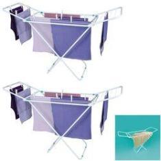 Imagem de Kit 2 Varal De Chão Com Abas 144x50cm Aço Roupas Dobrável Apartamento Slim - 6105 Mor