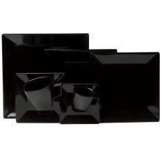 Aparelho de Jantar Quadrado de Porcelana 42 peças - Quartier Black Oxford Porcelanas