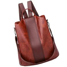 Imagem de OSALADI Mochila feminina de couro retrô de grande capacidade, mochila de lazer antifurto, bolsa de viagem para trabalho, dia a dia