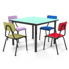 Conjunto Escolar Infantil 80x80cm Colorido Mesa Verde Escolar