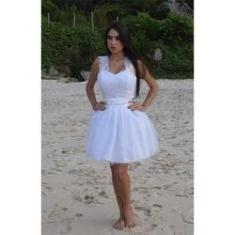 Imagem de Vestido De Noiva 15 Anos Curto Casamento Civil Alça Renda