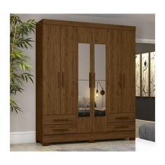 Imagem de Guarda-Roupa Casal 6 Portas 4 Gavetas com Espelho Briz Henn
