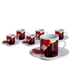 Imagem de Jogo 6 Xicaras para Cafe Porcelana 80ml Passion Full Fit