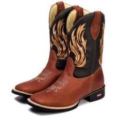 Imagem de Bota Texana Country Masculina Couro Legitimo Bico Quadrado Marrom