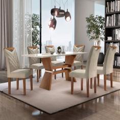 Imagem de Conjunto Mesa Texas Tampo Slim Vidro Plus 6 Cadeiras Texas Cel Móveis Chocolate/Off White/Jacar