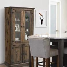 Imagem de Cristaleira de Madeira Maciça Rústica Colonial 4 Portas - Cera Imbuia