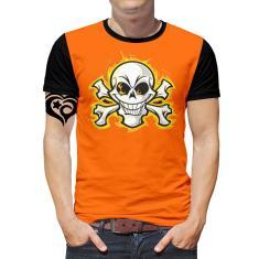 Imagem de Camiseta Caveira PLUS SIZE Rock Moto Masculina Blusa Laranja