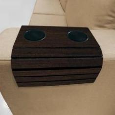 Imagem de Kit 2 Esteiras Bandeja Porta Copos Tabaco para braço de sofá