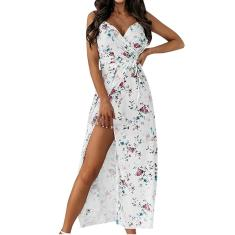 Imagem de Vestido longo feminino com estampa casual sem mangas capa festa de férias com estampa floral S