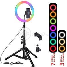 Imagem de Kit Completo Iluminador Luz LED Ring Light RGB Colorida Pro 10 Polegadas 26cm com Tripé 1,6m