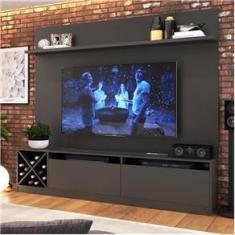 """Imagem de Painel Home para Tv 50"""" com 2 Portas Grafite Lilies Móveis"""