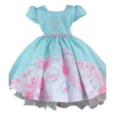 Imagem de Vestido de Festa Infantil Verde Tiffany com s