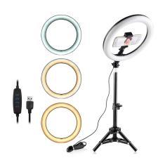 Imagem de Iluminador LED Ring Light 26cm para Maquiagem Fotos com tripé e suporte celular