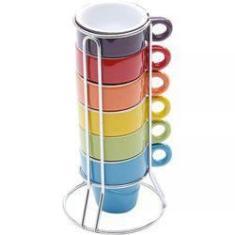 Imagem de Jogo 6 Xícaras De Café  60ml Coloridas Com Suporte