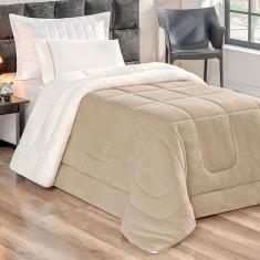 Imagem de Cobertor Coberdrom Pele de Carneiro Solteiro Bege Dupla Face 2,40m x 1,70m Tecido Sherpa