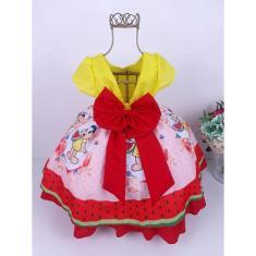 Imagem de Vestido Infantil Temático Magali Turma da Monica Festa Luxo Aniversário