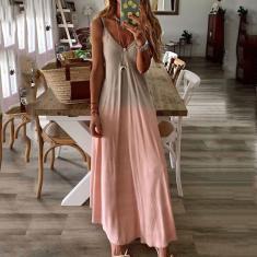Imagem de Hobby Vestido feminino casual sem mangas com decote em V estampa vestido longo gradiente