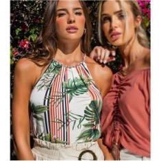 Imagem de Blusa Feminina Listras Tropicais Endless Bege