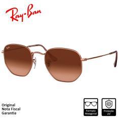 Imagem de Óculos de Sol Ray-Ban Hexagonal Flat Lenses Bronze Acobreado Marrom Degradê - RB3548NL 9069A5 54-21