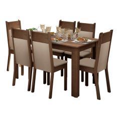 Imagem de Conjunto Sala De Jantar Madesa Jaíne Mesa Tampo De Madeira Com 6 Cadeiras