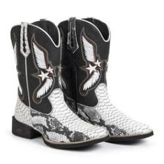 Imagem de Bota Texana Masculina Couro Sola Borracha Conforto Country /