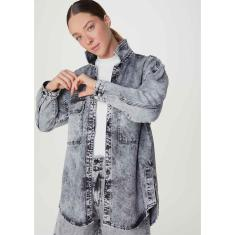 Imagem de Camisa Jeans Feminina Manga Longa Overshirt Marmorizada