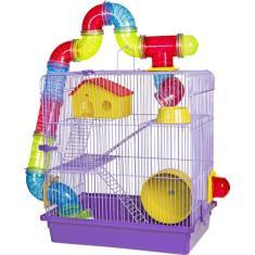 Imagem de Gaiola Para Hamster Roedores Jel Plast Super Luxo 3 Andares Lilás