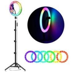 Imagem de Ring Light Led Iluminador Colorido 26cm - Tripé 2 Metros com Suporte de Celular