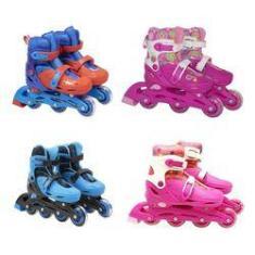Imagem de Kit Patins Infantil In Line E Tri Line Com Kit de Segurança Tamanho 32/35  Bbr Toys