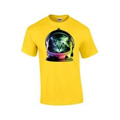 Imagem de Camiseta divertida Trenz Shirt Company Neon Astronaut Space Cat, , XXX-Large