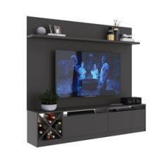 """Imagem de Painel Home para Tv 60"""" com 2 Portas Grafite Lilies Móveis"""